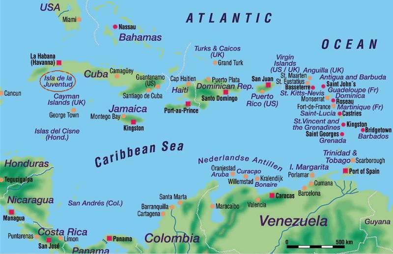 Karte Kuba.Karibik Karte Kuba